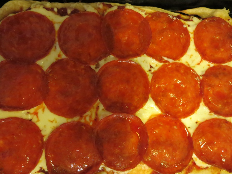 One of Uncle Jerry's pepperoni and cheese pizza's