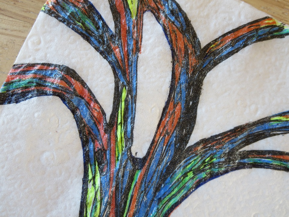 Karen's napkin-tree art.